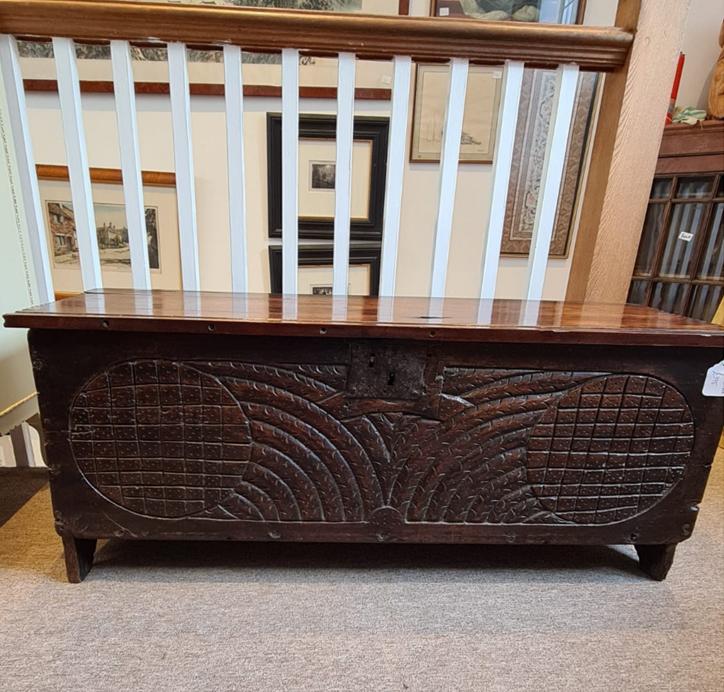 Antique Oak Carved Coffer
