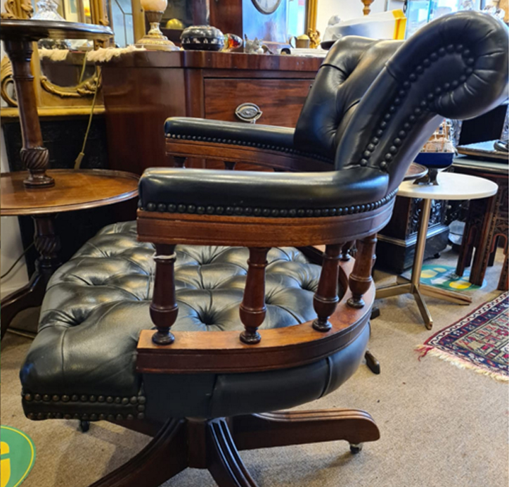 Vintage Leather Chesterfield Captain's Swivel Chair
